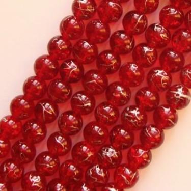 Margele sticla rosii pictate 8mm 75cm ~100buc