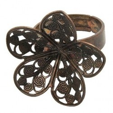 Baza inel sita bronz floare 25mm