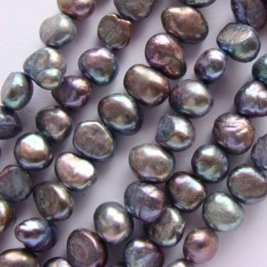 Margele perle de cultura 5-6mm gri 2 fete