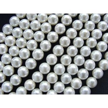 Margele perle imitatie sidef 8mm albe -10buc