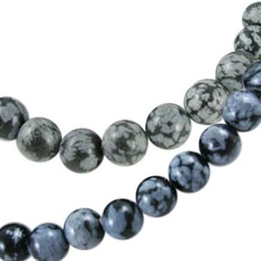 Margele obsidian fulg de nea 8mm
