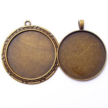 Cabochon pandantiv bronz caseta 40mm
