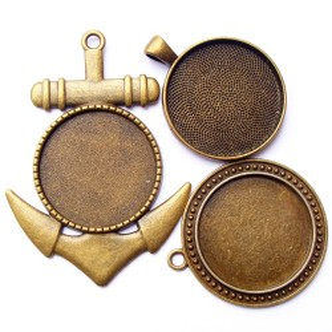 Cabochon pandantiv bronz caseta 30mm