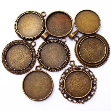 Cabochon pandantiv bronz caseta 25mm