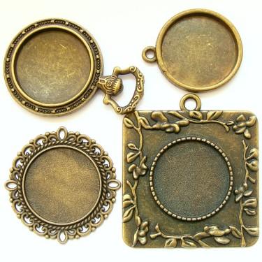 Cabochon pandantiv bronz caseta 20mm