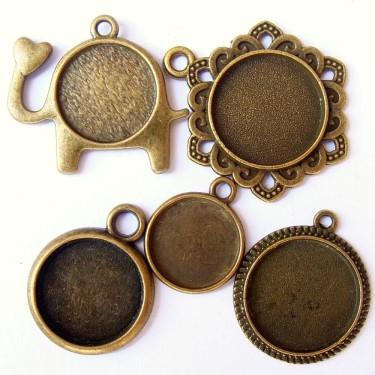 Cabochon pandantiv bronz caseta 12-16mm