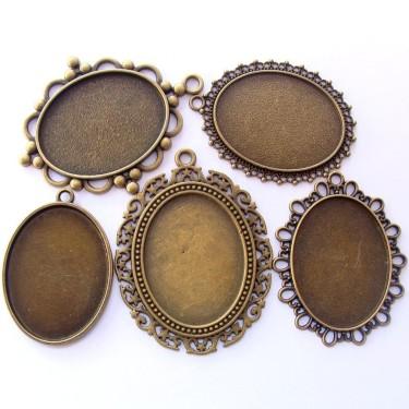 Cabochon pandantiv bronz caseta 25*18mm