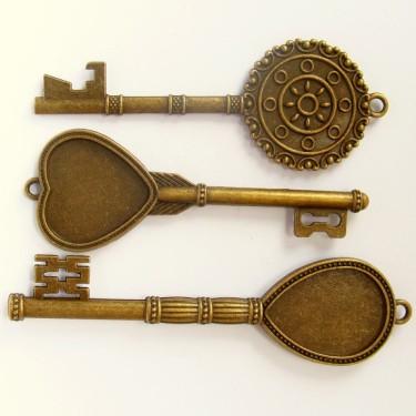 Cabochon pandantiv cheie bronz