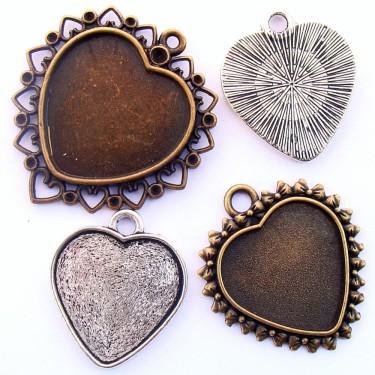 Cabochon pandantiv caseta inima