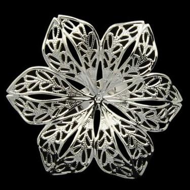 Bază inel sită argintie floare 43mm