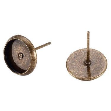 Bază cercei cabochon 10 mm bronz