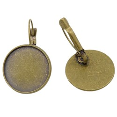 Bază cercei cabochon 10mm bronz pârghie