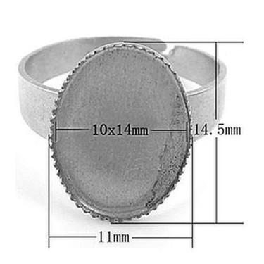 Baza inel cabochon 10*14mm argintie