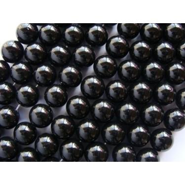 Margele perle imitatie sidef 10mm negre -1buc