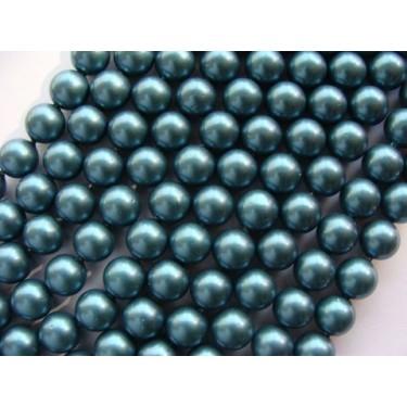 Margele perle imitatie sidef 10mm cyan -1buc