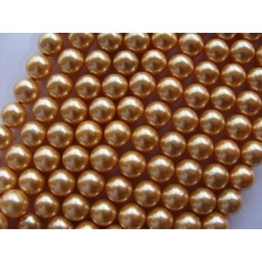 Margele perle imitatie sidef 10mm auriu inchis -1buc