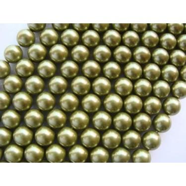 Margele perle imitatie sidef 10mm verde oliv -1buc