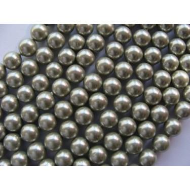 Margele perle imitatie sidef 8mm kaki -10buc