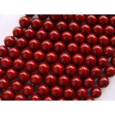 Margele perle imitatie sidef  8mm visiniu -10buc