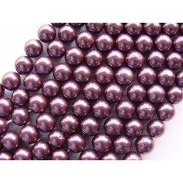 Margele perle imitatie sidef  8mm purpuriu -10buc