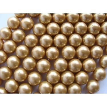 Margele perle imitatie sidef 8mm bej -10buc