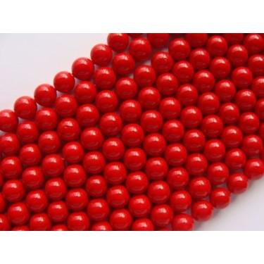 Margele perle imitatie sidef  8mm rosu -10buc