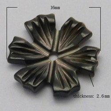 Margele sidef floare neagra 16mm -1buc