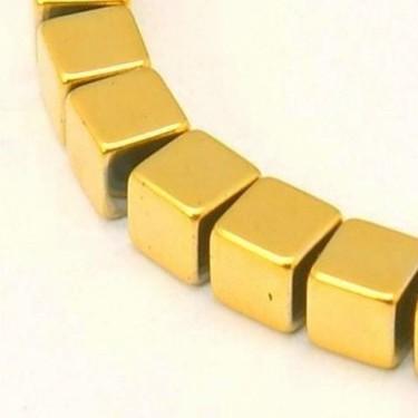 Margele hematit aurii 3*3mm 40cm max.120buc