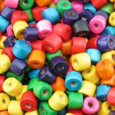 Margele lemn multicolor tub 4*5mm 200buc/10g