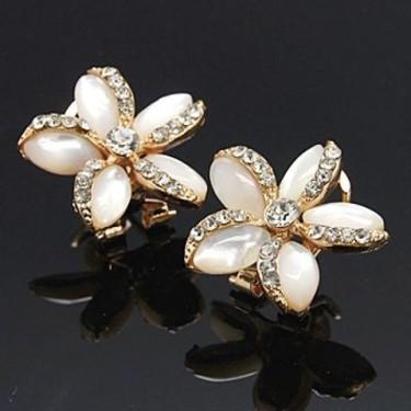 Cercei cu perle si rhinestone