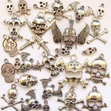 Mix charmuri cranii argintii 48g ~ 27buc