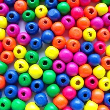 Margele lemn multicolore  7*8mm