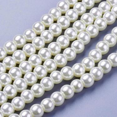 Margele sticla imit. perle albe  6mm
