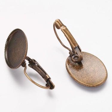 Baza cercei cabochon 13*18mm bronz