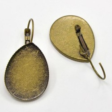 Baza cercei cabochon 13*18mm bronz drop