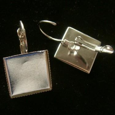 Baza cercei cabochon 15*15mm argintiu